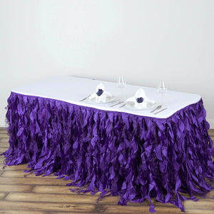 21FT Purple Curly Willow Taffeta Table Skirt