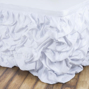 17 FT White Chambury Casa Pleated Satin Lamour Table Skirt