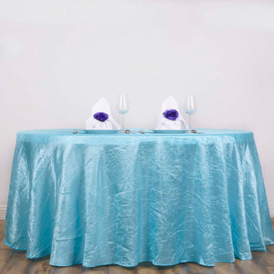 "Light Blue 117"" Crinkle Taffeta Round Tablecloth"