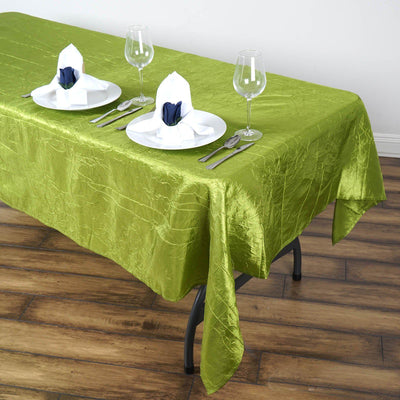 "60x102"" Apple Green Crinkle Taffeta Rectangular Tablecloth"
