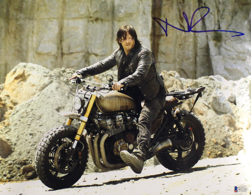 Norman Reedus Autographed Walking Dead 11x14 Photo Daryl Dixon BAS PSM-Powers Sports Memorabilia