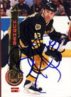 Brent Hughes Boston Bruins 1995 Pinnacle Autographed Card. This item comes with a certificate of authenticity from Autograph-Sports. PSM-Powers Sports Memorabilia