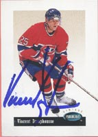 Vincent Damphousse Montreal Canadiens 1994 Parkhurst Vintage Autographed Card. This item comes with a certificate of authenticity from Autograph-Sports. PSM-Powers Sports Memorabilia