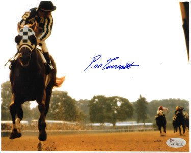 Ron Turcotte signed Secretariat 1973 Belmont Stakes Horse Racing Color 16X20 Photo (Looking Back)- JSA Hologram PSM-Powers Sports Memorabilia