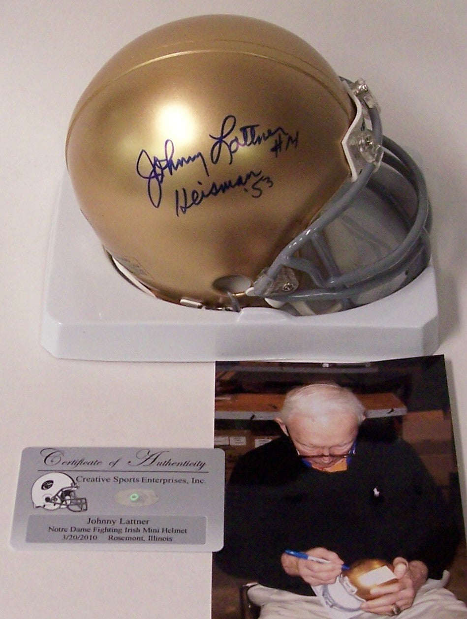 Johnny Lattner autographed Hand Signed Notre Dame Fighting Irish Mini Helmet PSM-Powers Sports Memorabilia