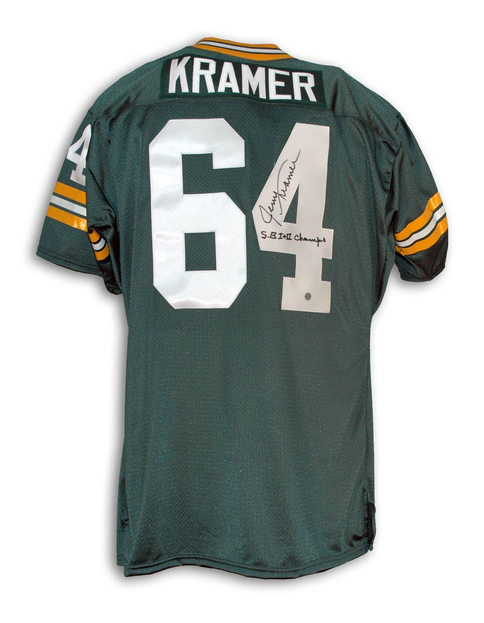 "Jerry Kramer Green Bay Packers Autographed Green Throwback Jersey Inscribed ""SB I+II Champs"" PSM-Powers Sports Memorabilia"