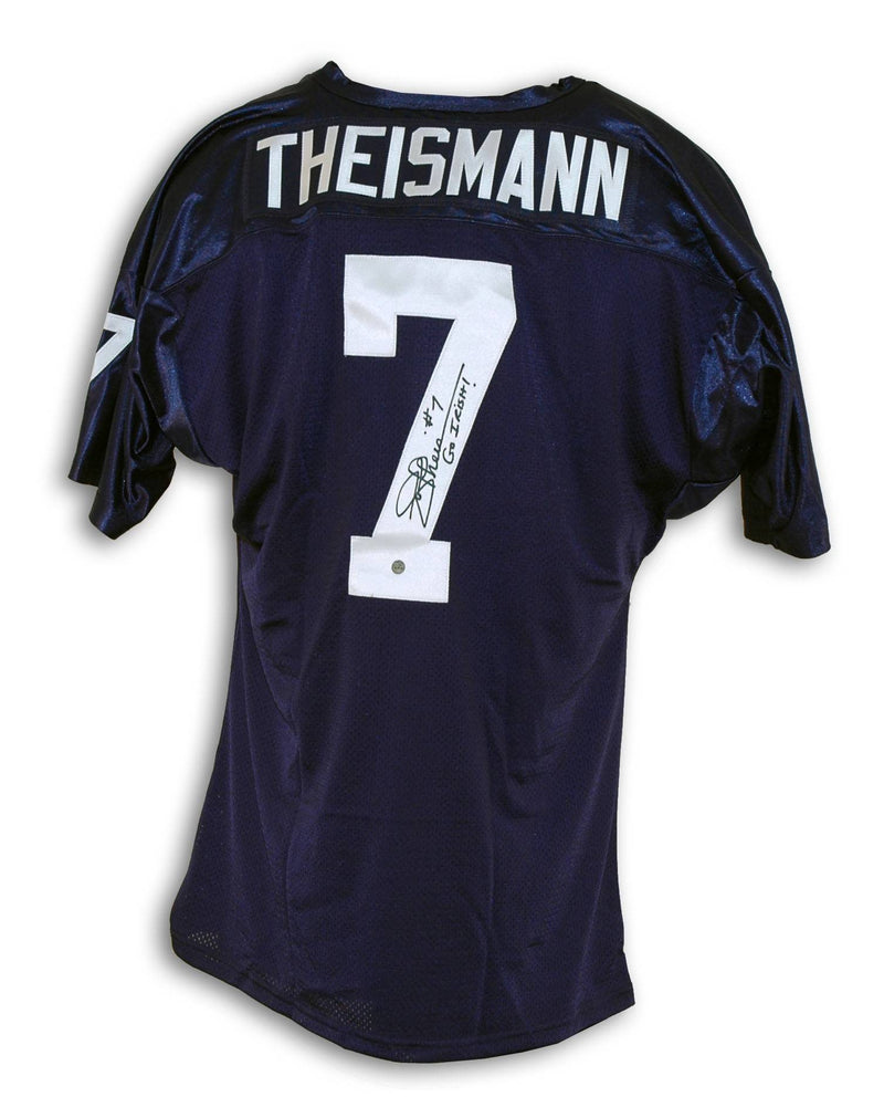 "Joe Theismann Notre Dame Fighting Irish Autographed Navy Blue Throwback Jersey Inscribed ""Go Irish"" PSM-Powers Sports Memorabilia"