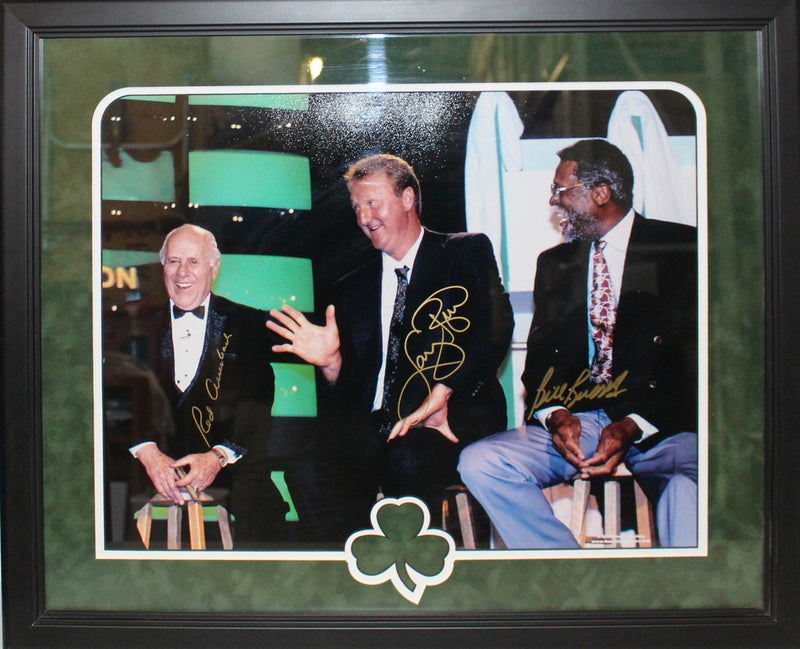Auerbach Bird & Russell Autographed Boston Celtics Framed 16x20 Photo BAS PSM-Powers Sports Memorabilia