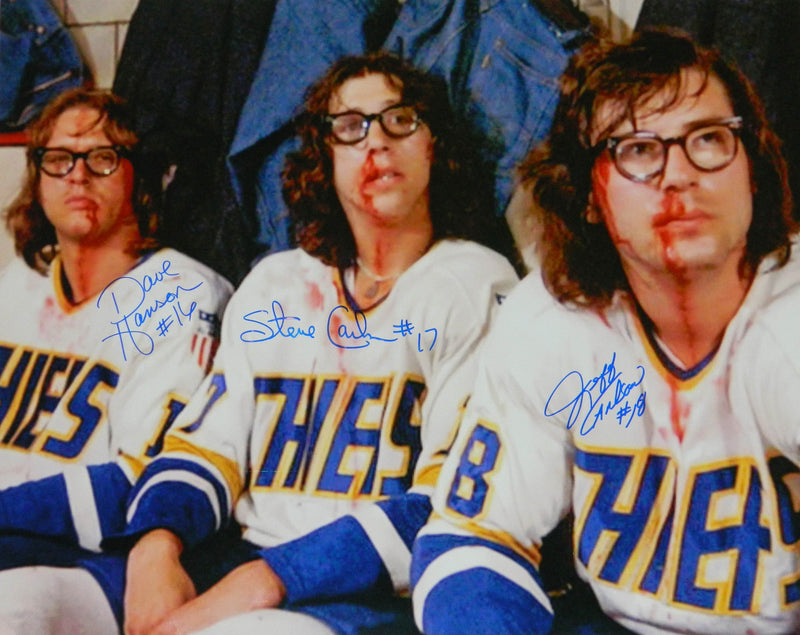 Hanson Brothers Signed Chiefs 'Slap Shot' Bloody Faces 16x20 Photo PSM-Powers Sports Memorabilia