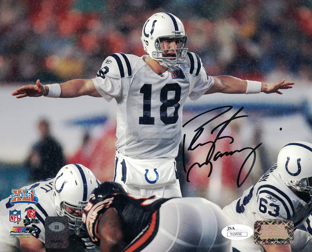 Peyton Manning Autographed Indianapolis Colts 8x10 Photo Rain JSA PSM-Powers Sports Memorabilia