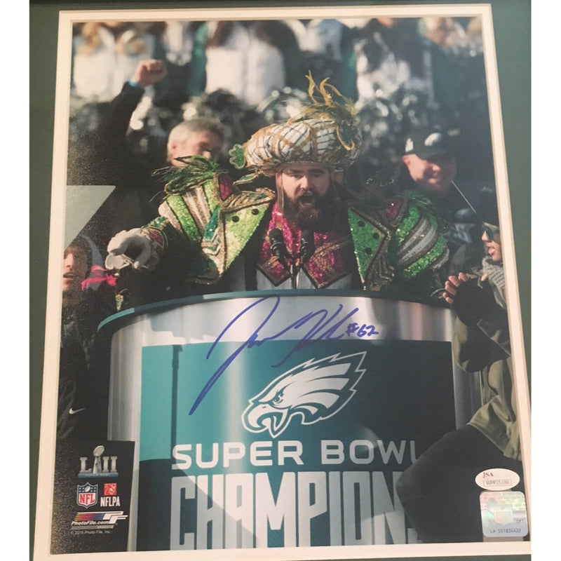 Jason Kelce Autographed Philadelphia Eagles Super Bowl LII 52 Parade Speech Signed 11x14 Framed Photo JSA COA-Powers Sports Memorabilia