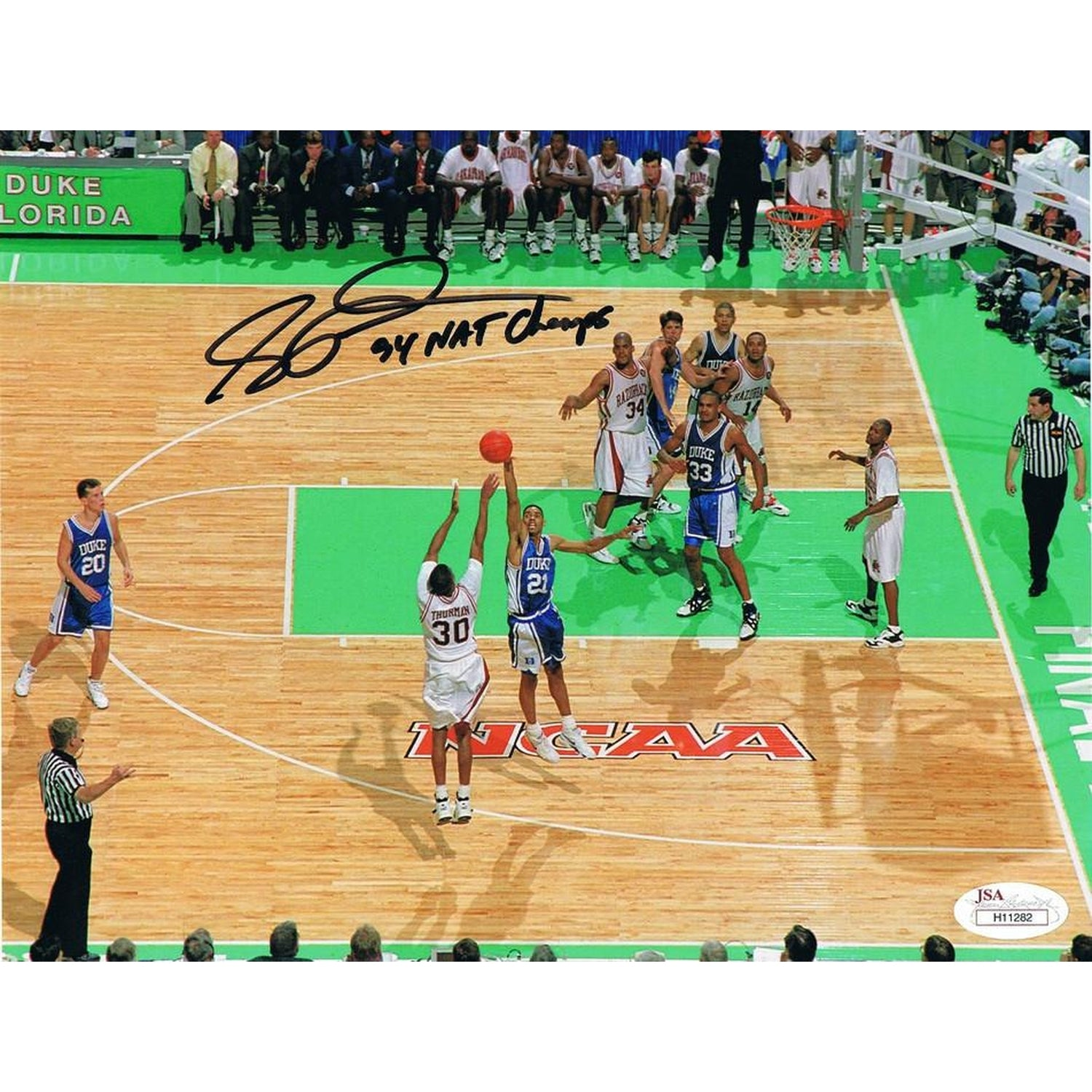 Scotty Thurman Autographed Arkansas Basketball 1994 CHAMPS Signed Basketball 8x10 Photo JSA COA-Powers Sports Memorabilia