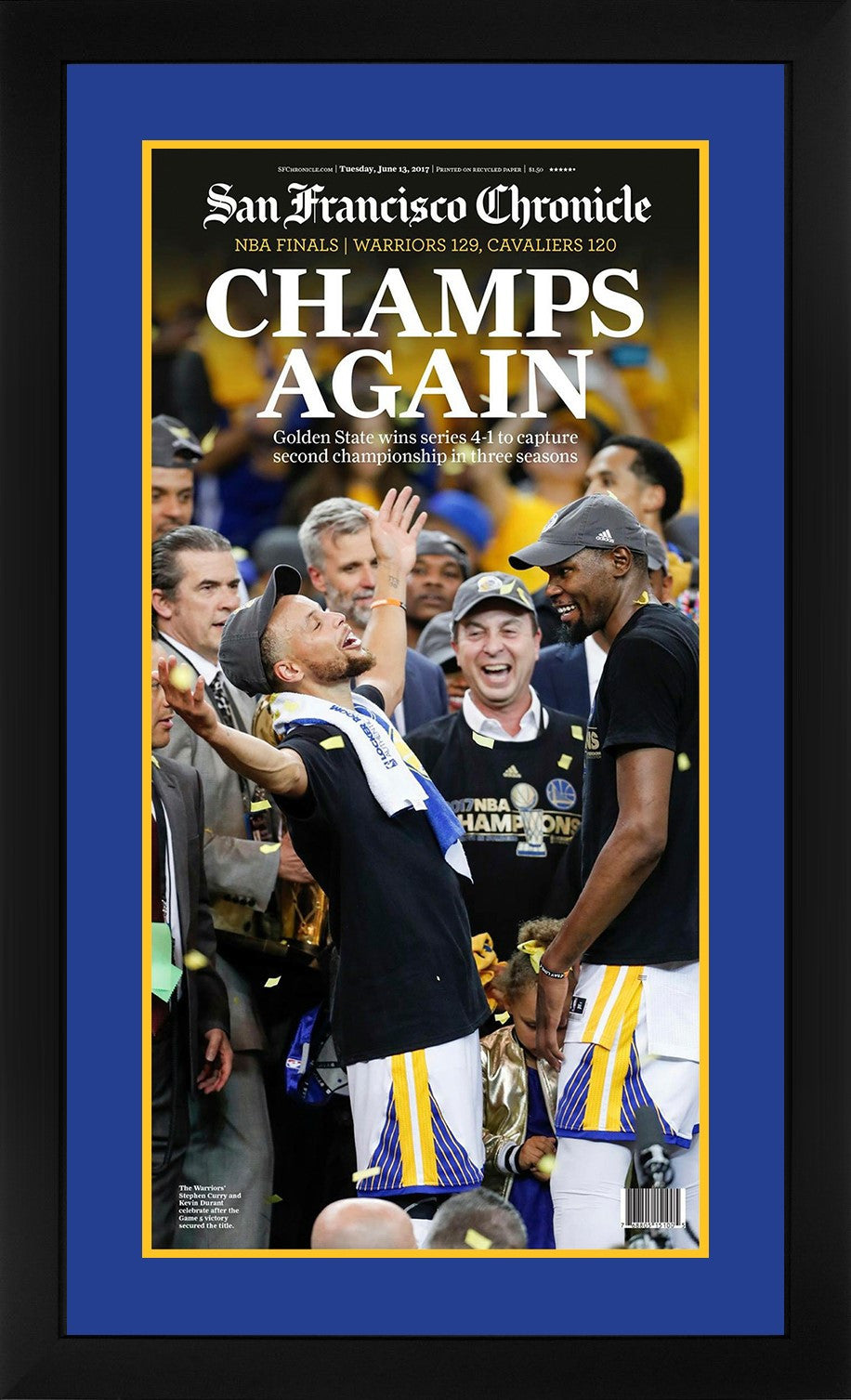 Golden State Warriors 2017 NBA Champions San Francisco Chronicle Framed Newspaper Original Front Page Stephen Curry-Powers Sports Memorabilia