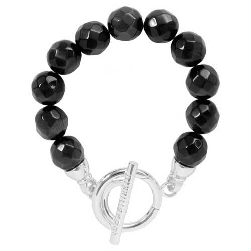 Black Cats Eye Bracelet Silver Plate T-Bar Closure