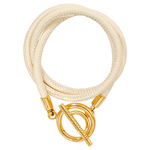 Ivory Leather Wrap Bracelet Gold Plate