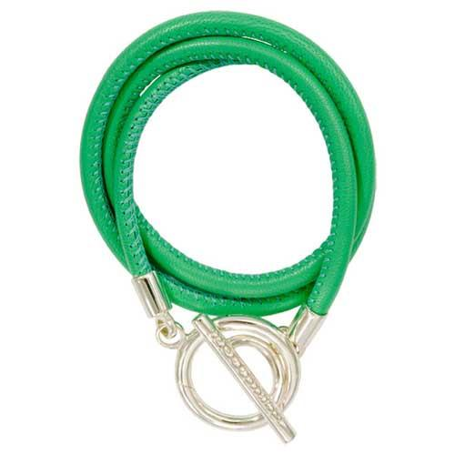 Green Leather Wrap Bracelet Silver Plate