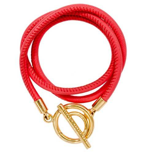 Coral Red Leather Wrap Bracelet Gold Plate