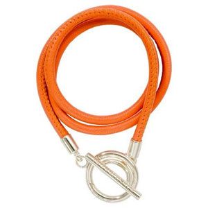 Orange Leather Wrap Bracelet Silver Plate
