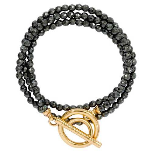 Black Pyrite Wrap Bracelet Gold Plate