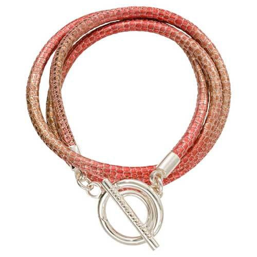 Red Leather Reptile Wrap Bracelet Silver Plate