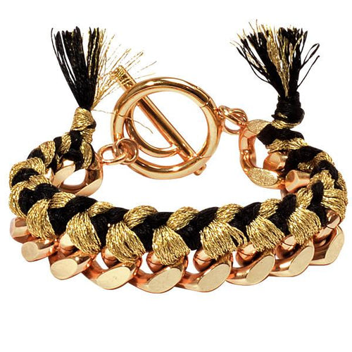 Gold & Black Woven Chain Bracelet Gold Plate