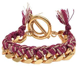 Red Woven Chain Bracelet Gold Plate