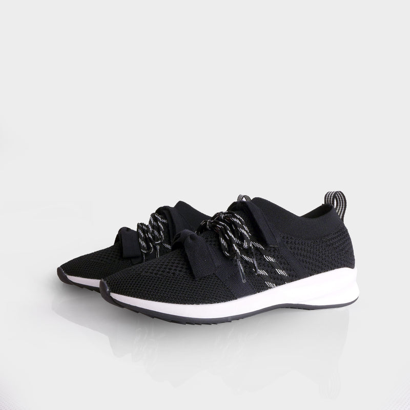 Bow Sneakers Black White - Mks Shoes