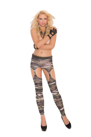 Camouflage Leggings with Garter Cut-outs
