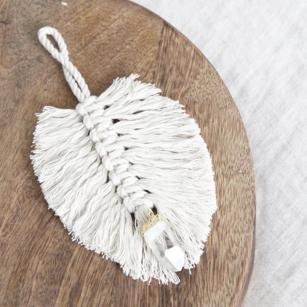 Macrame Feather Quartz Ornament