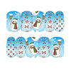 Xmas Gift Box Snowman Pattern Nail Art Stickers Water Transfer Nail Decals