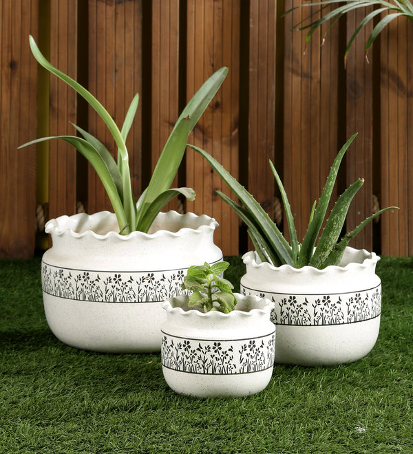 Ceramic White set of 3 Big Floor Pots with Grass print