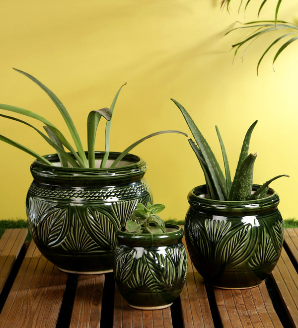 Ceramic Green set of 3 Big Floor Planters Pots with Carving