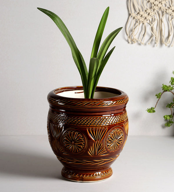 Ceramic Glossy Brown Big Floor Planter Pot with Carving