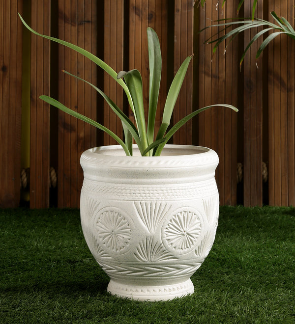 Ceramic White Matt Big Floor Planter Pot with Carving