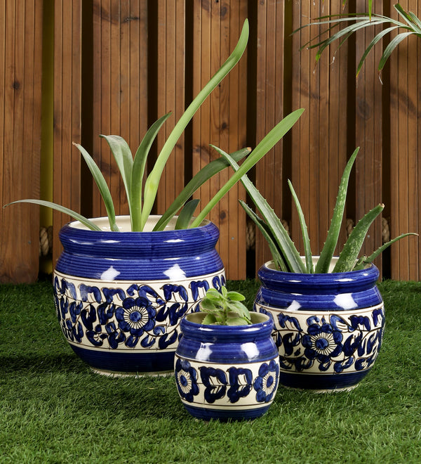 Ceramic Blue set of 3 Big Floor Planters Pots