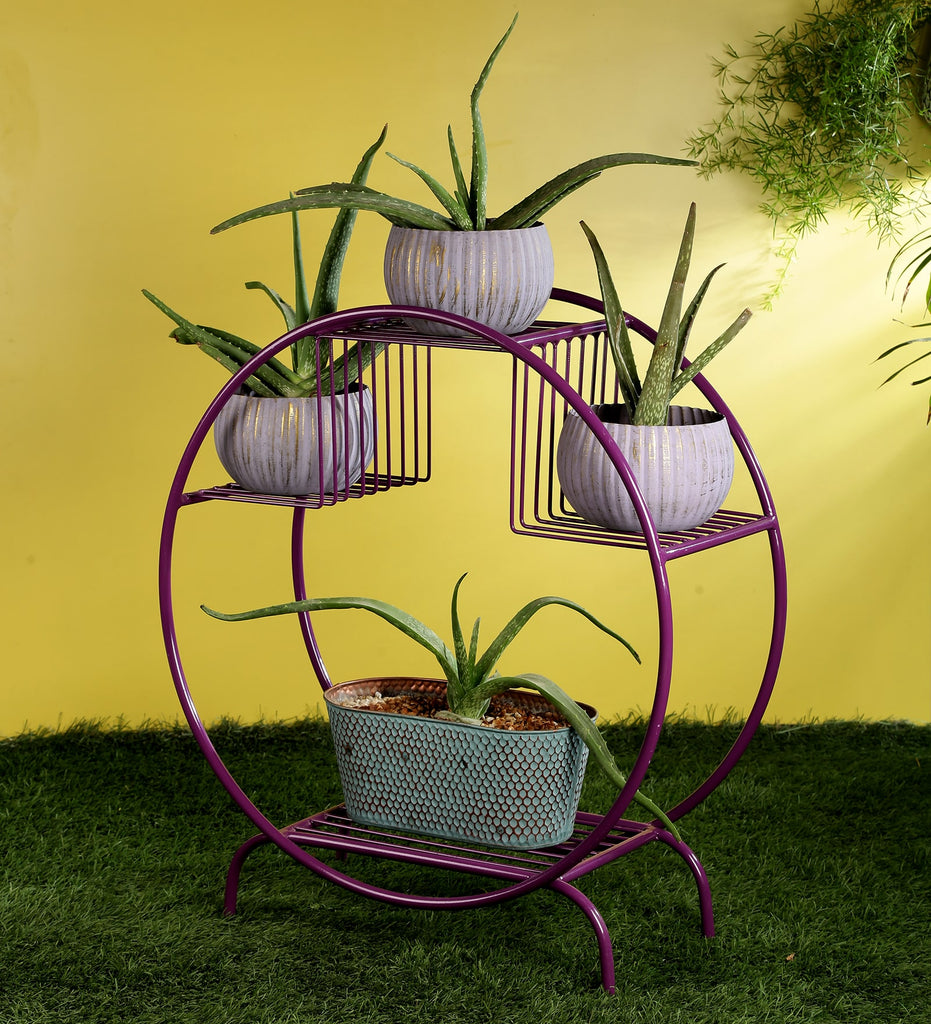 Purple Round Metal Planter Stand