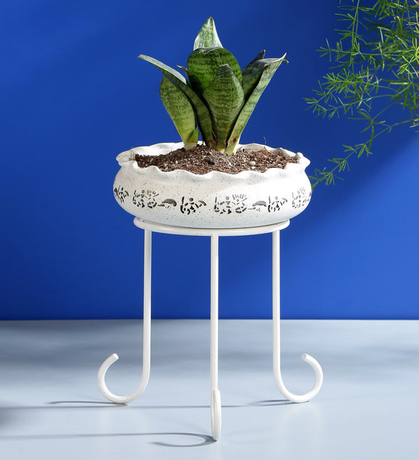 White Metal Planter Stand
