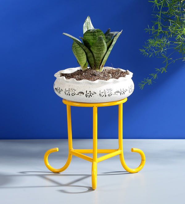 Yellow Metal Planter Stand
