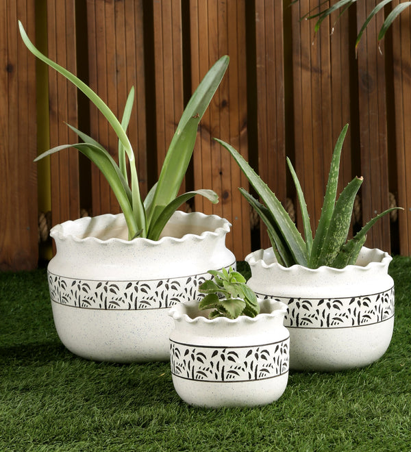 Ceramic White set of 3 Big Floor Pots with leafy print