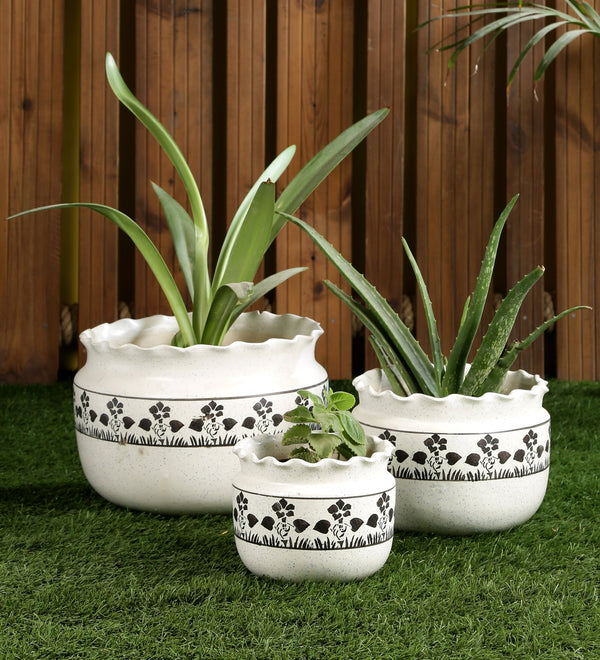 Ceramic White set of 3 Big Floor Pots with Flower print