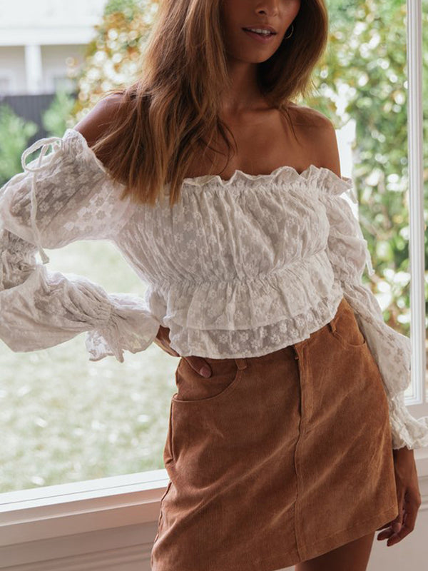 Embroidered Off-The-Shoulder Crop Top