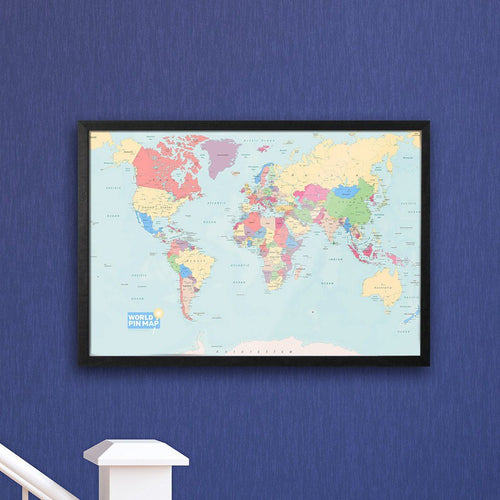 Map Gift - Framed World Pinboard Map