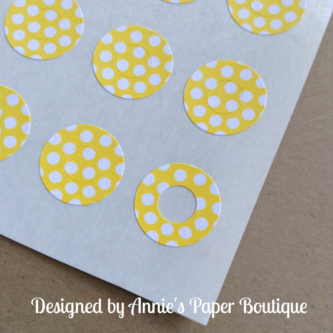 Yellow & White Polka Dots Trendy Page Dots™ - Hole Reinforcers, Planner Stickers
