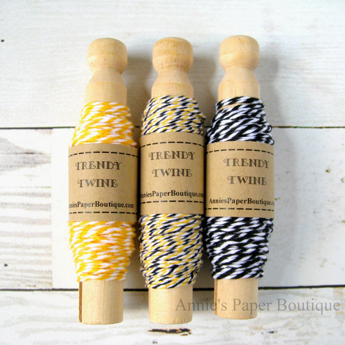 Yellow, White, and Black Trendy Bakers Twine Sampler