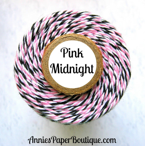 Pink Midnight Trendy Bakers Twine - Pink, White, & Black