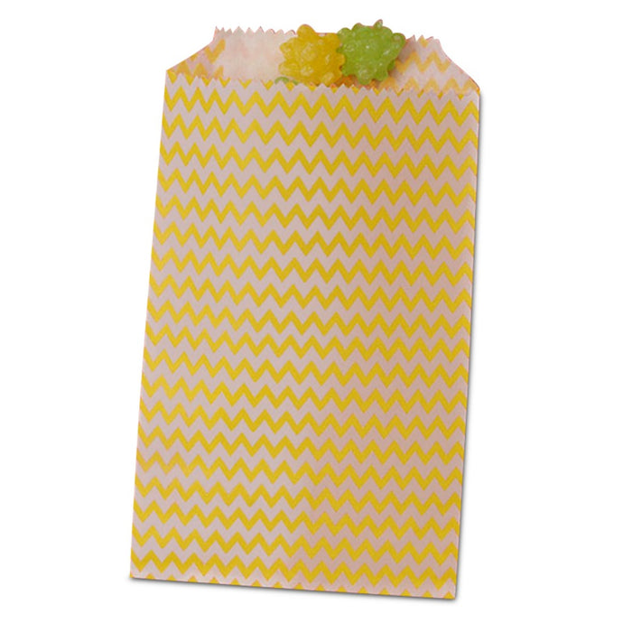 Yellow Chevron Treat Bags - 3-1/4