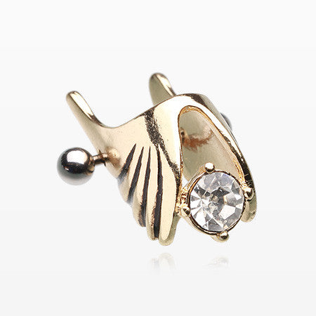Golden Angelic Ornate Wing Cartilage Ear Cuff-Clear