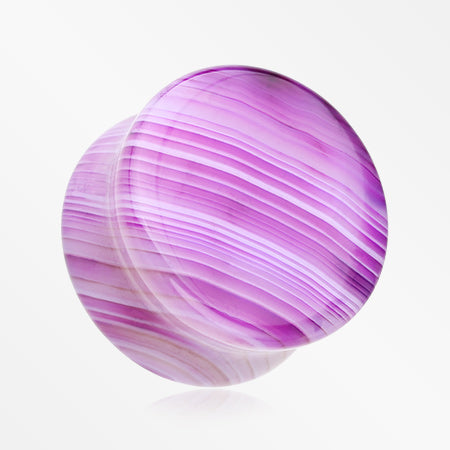 A Pair of Purple Stripe Agate Stone Double Flared Plug
