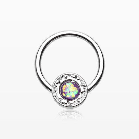 Opalescent Elegance Captive Bead Ring-Purple