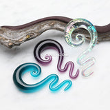 A Pair of Serpentine Swirl Glass Hanger Plugs-Purple